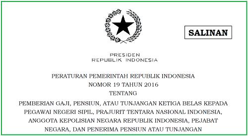 Gaji, Pensiun, Tunjangan Ketiga Belas PNS, TNI, Polisi