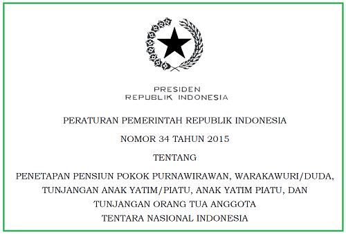 Pensiun Pokok Purnawirawan, Tentara Nasional Indonesia