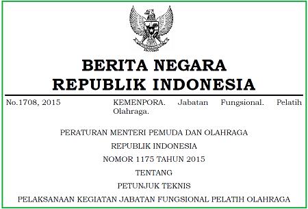 Petunjuk Teknis Pelaksanaan Kegiatan Jabatan Fungsional Pelatih Olahraga