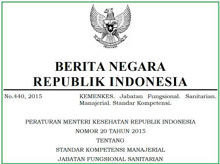 Standar Kompetensi Manajerial Jabatan Fungsional Sanitarian