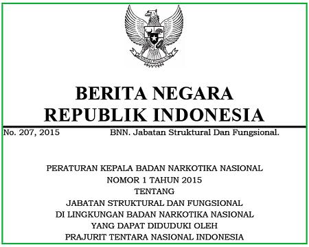 Jabatan Struktural dan Fungsional di Lingkungan Badan Narkotika Nasional yang dapat Diduduki oleh Prajurit Tentara Nasional Indonesia