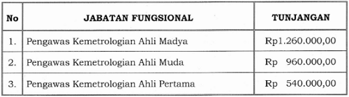 Tunjangan Jabatan Fungsional Pengawas Kemetrologian
