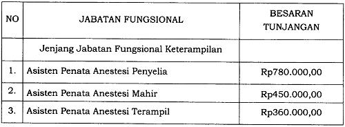 Tunjangan Jabatan Fungsional Asisten Penata Anestesi