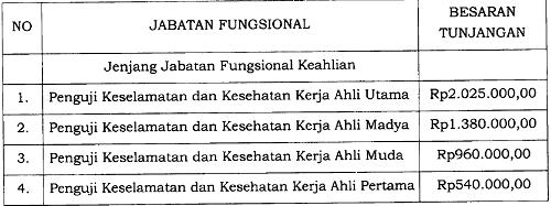 Tunjangan Jabatan Fungsional Penguji Keselamatan dan Kesehatan Kerja